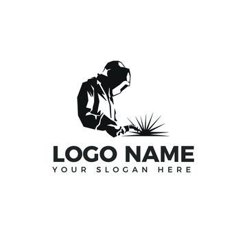 Welding logo industrial  logo company logo design side view, WELDER LOGO