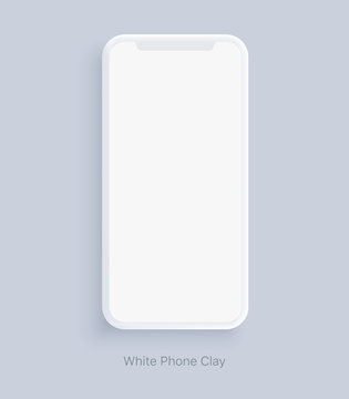 Modern clay smartphone mockup. Blank screen isolated device on gray background. Mock up to showcasing mobile applications or web page design screenshots.