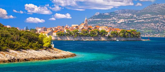 Historic town of Korcula archipelago panoramic view
