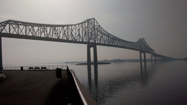 Commodore Barry Bridge Over Delaware River Against Sky In Foggy Weather