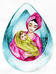 Foto op Canvas Schilderkunstige Inspiratie Watercolor illustration depicting a mother with a tiny child.
