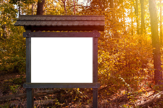 Blank white information board in the forest