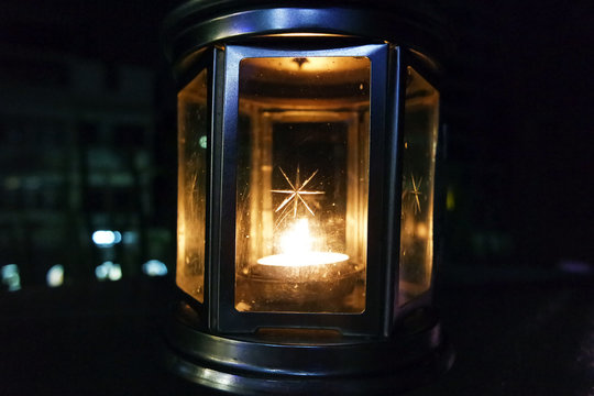 Close-up Of Illuminated Lantern In Dark