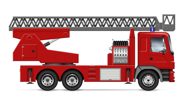 Fire truck with ladder view from side isolated on white background. Rescue vehicle vector template, all elements in the groups on separate layers for easy editing and recolor