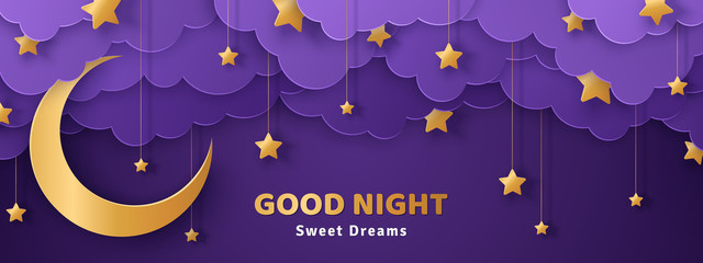 Poster Prune Good night and sweet dreams banner. Fluffy clouds on dark sky background with gold moon and hanging stars. Vector illustration. Paper cut style. Place for text