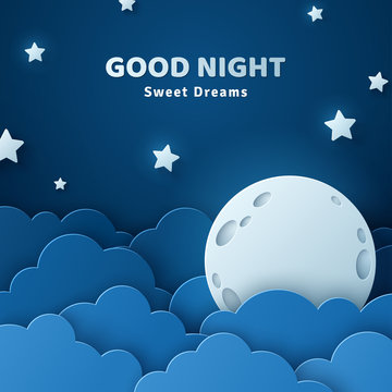 Good night and sweet dreams banner. Fluffy clouds on dark sky background with moon and stars. Vector illustration. Paper cut style. Place for text