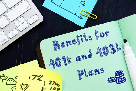 The caption in the picture is Benefits for 401k and 403b Plans.