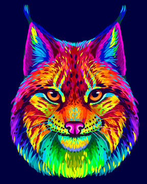 Lynx. Abstract, neon, multicolored portrait of a lynx head on a dark blue background in the style of pop art.