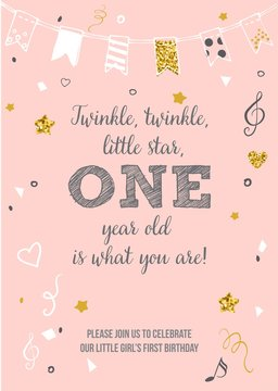Twinkle, Twinkle, Little Star. One Year Birthday Printable Invitation Card