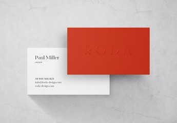 Red and White Business Card with Embossing Mockup