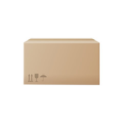 Closed carton box or packaging mockup, realistic vector illustration isolated.