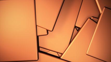 Wall Mural - orange copper warm displaced cubes background, 3d render illustration