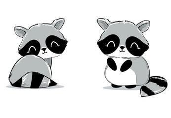 Fotoväggar - Hand Drawn Cute Raccoon. Cartoon character. Children print on t-shirt. Vector Illustration.