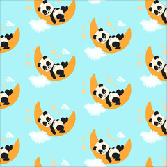 Sweet sleeping baby panda and sky-blue background seamless pattern. Unique little animal. Panda illustration elements isolated on white perfect for print and all kinds of children design.