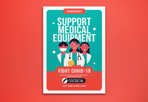 Support Medical Equipment Fight Covid-19 Flyer Layout