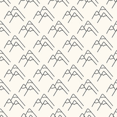 Seamless vector geometric pattern with mountain icon in monochrome. Landscape background in minimalistic style. Simple illustration of winter hills.