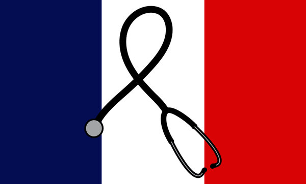 France flag with a black ribbon formed by a stethoscope in mourning