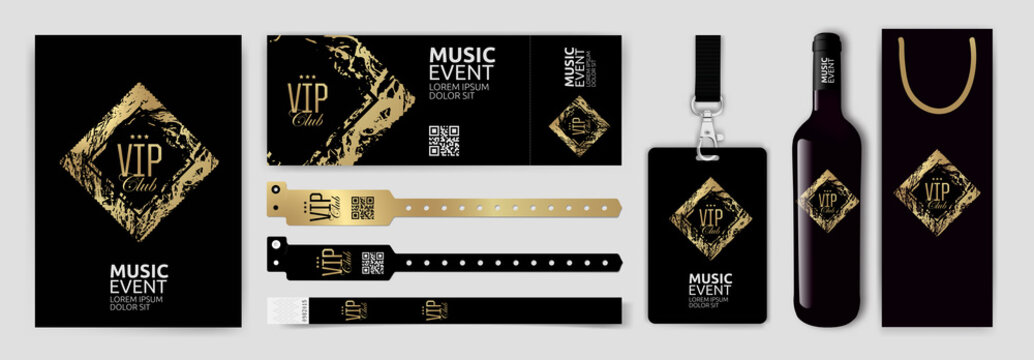 Set with design templates for VIP invitation, access bracelets, lanyard, ticket, wine bottle and wine packaging. Golden and black marble texture background, luxurious style.