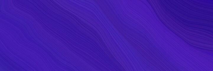 Foto auf AluDibond Violett landscape orientation graphic with waves. elegant curvy swirl waves background design with dark slate blue, slate blue and midnight blue color