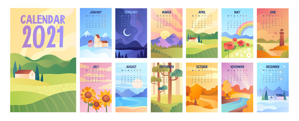 2020 Calendar with bunch of minimalist style landscapes of four seasons. Set of vector illustrations