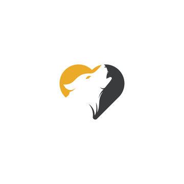 Wolf heart shape concept Logo Design. Modern professional wolf logo design. Wolf head logo vector
