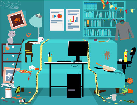 Messy dirty room with a clean work station, yellow tape sets work place boundaries, no people, EPS 8 vector illustration