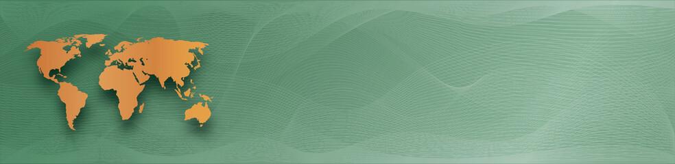 Foto auf Gartenposter Abstrakte Welle golden world map on green gradient background with abstract waves lines