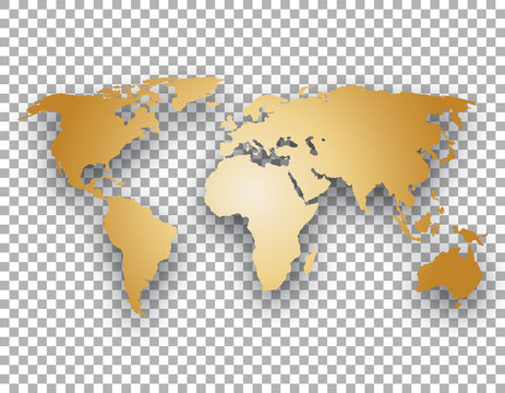 gold world map with shadow on transparent background