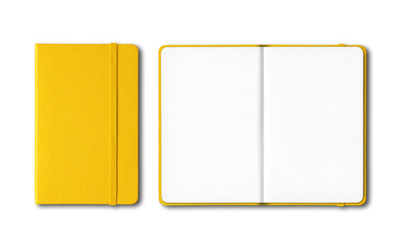 Yellow closed and open notebooks isolated on white