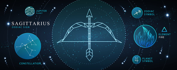 Modern magic witchcraft card with astrology Sagittarius neon zodiac sign. Polygonal Bow and arrow illustration. Zodiac characteristic