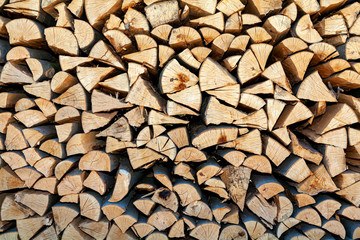 A stack of wood, nature background