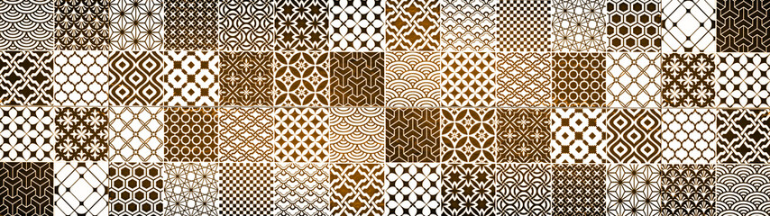 Brown beige white vintage retro geometric square mosaic motif cement tiles texture background banner panorama