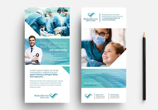 Blue Medical Flyer Layout for Hospitals and Doctors