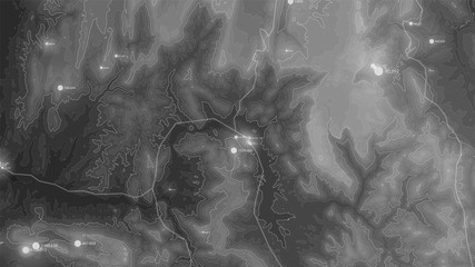Fotoväggar - Terrain big data visualization. Futuristic map infographic. Complex topographical data graphic visualization. Abstract data on elevation graph. Monochrome geographical data image.