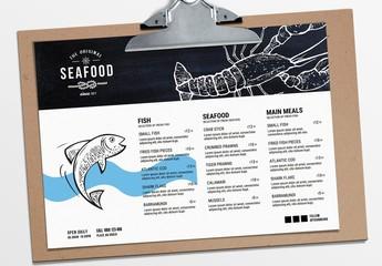 Landscape Seafood Menu Layout with Lobster Illustration