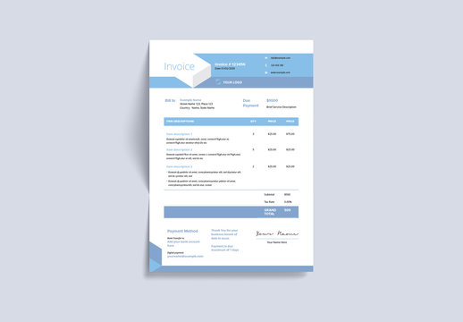 Invoice Layout with Geometric Elements