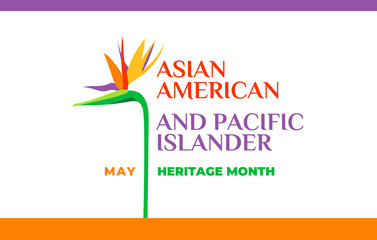 Asian American and Pacific Islander Heritage Month. Vector banner for social media, card, poster. Illustration with text, tropical plants. Asian Pacific American Heritage Month horizontal composition Fotomurales