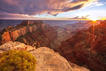 Garden Poster Brown Sun beams at the Grand Canyon, Arizona, USA.