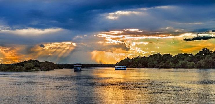 Landscape over Zambezi river near Livingstone in Zambia..