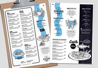 Seafood Restaurant Menu Layout