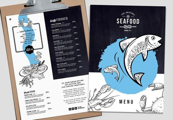 Seafood Menu Layout with Food Illustrations
