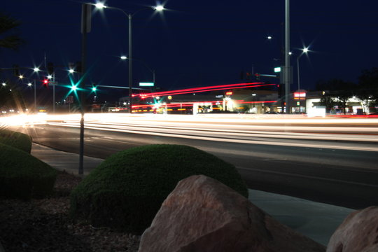 Las Vegas intersection at night