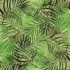 Poster Tropical Leaves Leaves pattern design camouflage style colored seamless pattern