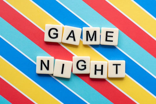 Game Night letter tiles on colorful background