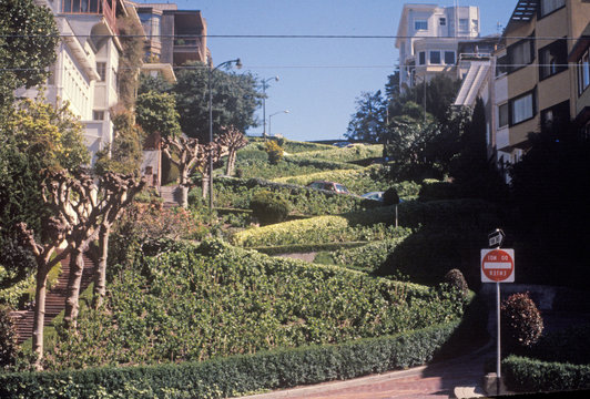 Lombard Street, the crookedest street in the world in San Francisco, California