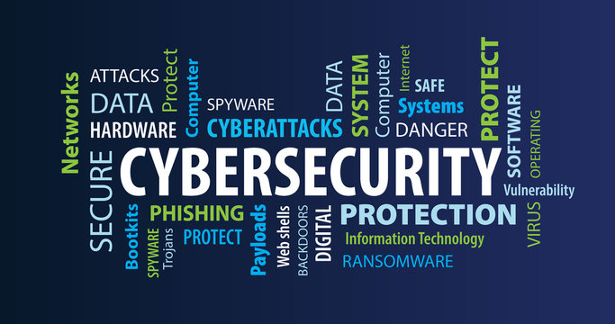 Cybersecurity Word Cloud on a Blue Background