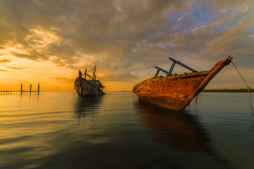 Garden Poster Shipwreck Nautical Vessel On Sea Against Sky During Sunset