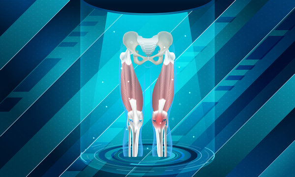 New technology for knee bone injury. Abstract traumatology and orthopedics. Medical, science and technology, the hospital for body joints.