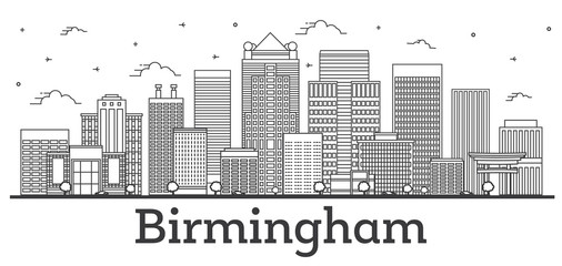 Wall Mural - Outline Birmingham Alabama City Skyline with Modern Buildings Isolated on White.