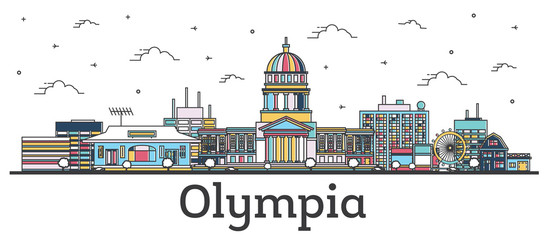 Wall Mural - Outline Olympia Washington City Skyline with Color Buildings Isolated on White.